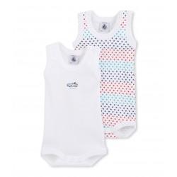 Set of 2 baby boy's sleeveless printed bodysuits
