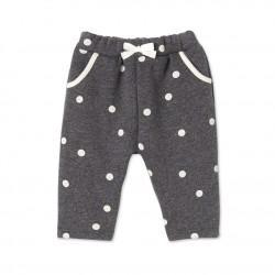 Baby girl`s pants in polka dot cotton fleece
