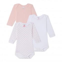 Pack of 3 baby girl long-sleeved bodysuits