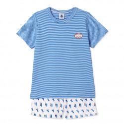 Boys` print / milleraies stripes short pyjamas