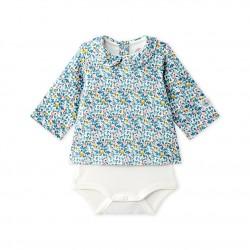 Блуза-боди за бебе момиче в цветен принт