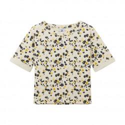 Блуза с флорален принт и двоен памучен плат за момиче