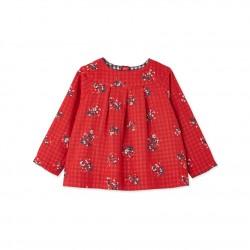 Блуза за бебе момиче в цветен двоен плат