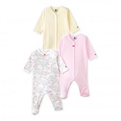 Set of three baby girl`s sleepsuits