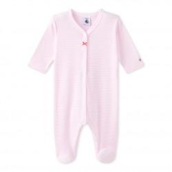 Baby girl`s milleraies-striped sleepsuit
