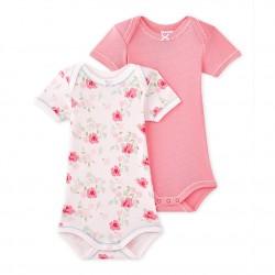 Set of 2 baby girls' short-sleeved bodysuits