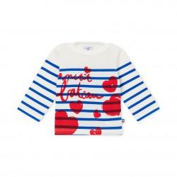 Блуза за бебе момиче на райе с творчески принт
